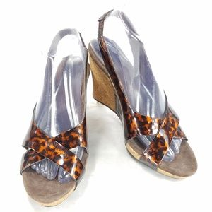 UGG Australia Leather Peep Toe Cork Wedge Sandals